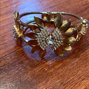 Womens gold plated floral bracelet